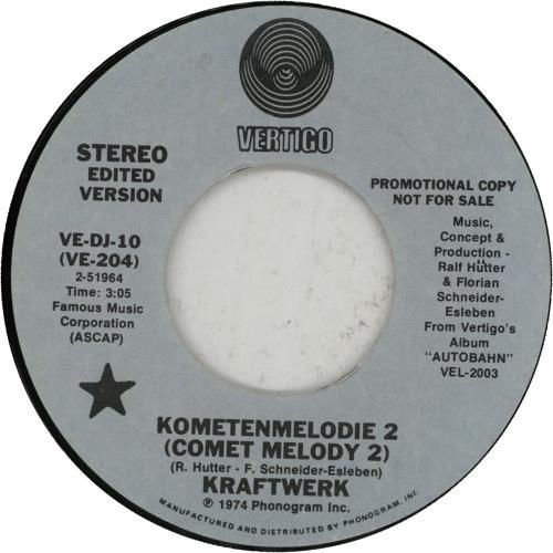 """Kraftwerk Kometenmelodie 2 7"""" vinyl single (7 inch record) US KRA07KO19603"""