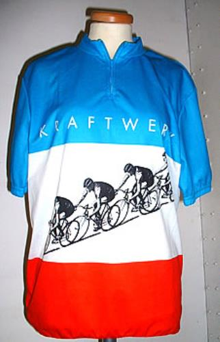 23e7feee9 KRAFTWERK Tour De France (Superb 2003 Italian promotional-only polyester cyclist  jersey with short sleeves and wide stripes in blue white red across the ...