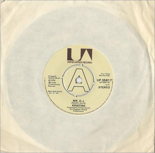 "Kristine Mr. D.J. 7"" vinyl single (7 inch record) UK KRN07MR485133"