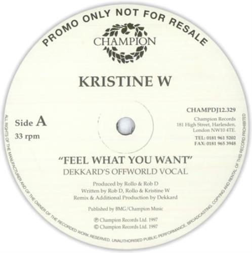 "Kristine W Feel What You Want 12"" vinyl single (12 inch record / Maxi-single) UK KRW12FE427385"