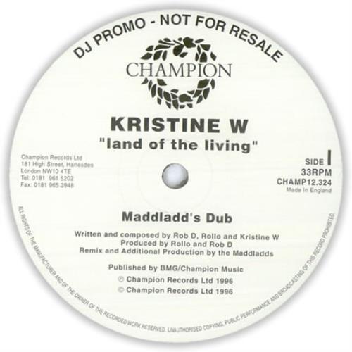 "Kristine W Land Of The Living - Doublepack 12"" vinyl single (12 inch record / Maxi-single) UK KRW12LA427383"