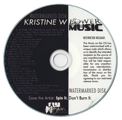 Kristine W The Power Of Music CD-R acetate US KRWCRTH480931