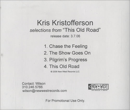 Kris Kristofferson Selections From This Old Road CD-R acetate US KRSCRSE488737