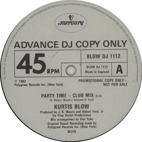 "Kurtis Blow Party Time 12"" vinyl single (12 inch record / Maxi-single) UK KUW12PA653797"