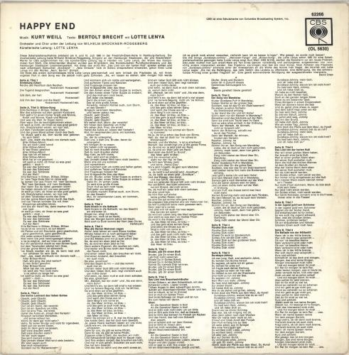 Kurt Weill Happy End vinyl LP album (LP record) Dutch KU0LPHA712203