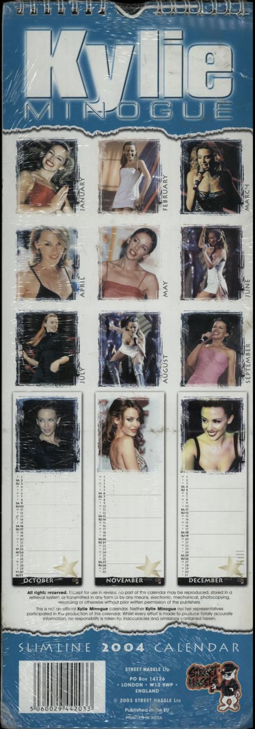 Kylie Minogue Calendar 2004 [Slim Edition] - Quantity of TEN calendar UK KYLCACA623453