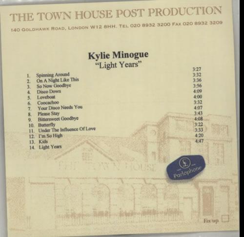 Kylie Minogue Light Years - 14-tracks CD-R acetate UK KYLCRLI175364