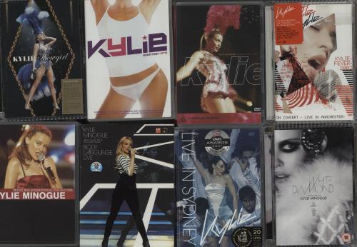 Kylie Minogue Quantity of Ten DVDs video (VHS or PAL or NTSC) UK KYLVIQU664007