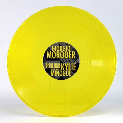 "Kylie Minogue Right Here Right Now - Yellow Vinyl 12"" vinyl single (12 inch record / Maxi-single) UK KYL12RI758052"