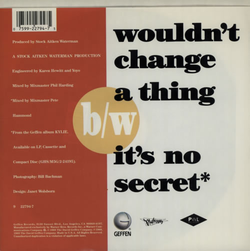 """Kylie Minogue Wouldn't Change A Thing 7"""" vinyl single (7 inch record) US KYL07WO18333"""