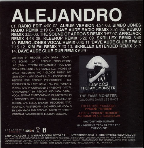 "Lady Gaga Alejandro CD single (CD5 / 5"") French LGQC5AL626517"