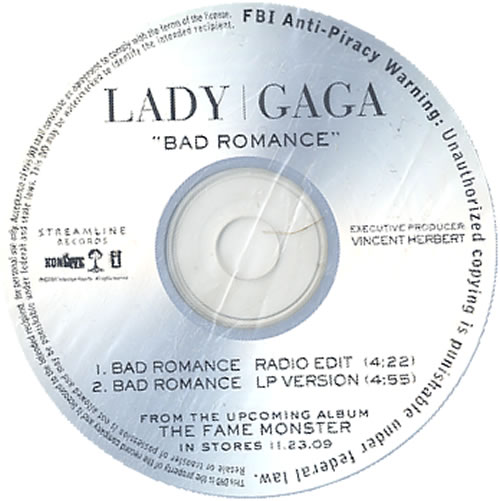 Lady Gaga Bad Romance CD-R acetate UK LGQCRBA626503