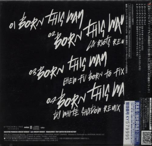 """Lady Gaga Born This Way CD single (CD5 / 5"""") Japanese LGQC5BO610928"""