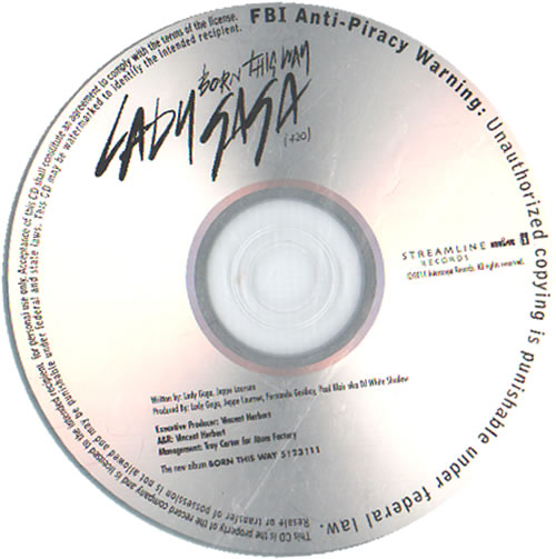 Lady Gaga Born This Way CD-R acetate US LGQCRBO633986