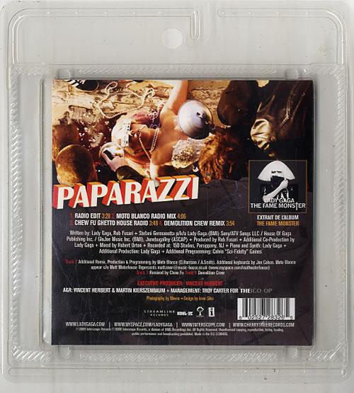 "Lady Gaga Paparazzi CD single (CD5 / 5"") French LGQC5PA626611"