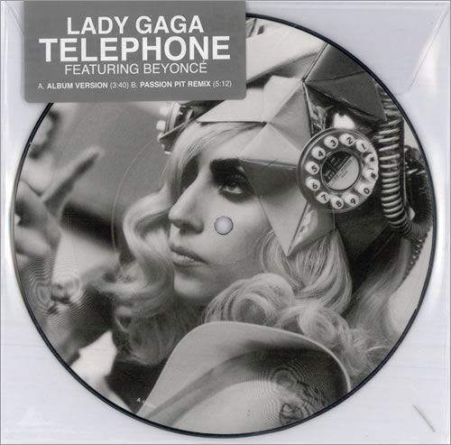 "Lady Gaga Telephone 7"" vinyl picture disc 7 inch picture disc single UK LGQ7PTE500276"