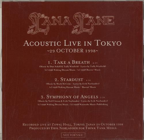 "Lana Lane Acoustic Live In Tokyo CD single (CD5 / 5"") Japanese L6QC5AC585269"