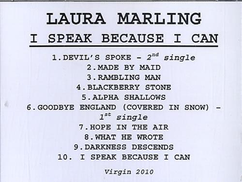 Laura Marling I Speak Because I Can CD-R acetate US LMLCRIS629493