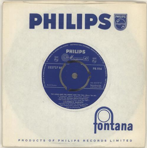 "Laurence Harvey The Long And The Short And The Tall (Bless 'Em All) 7"" vinyl single (7 inch record) UK LHY07TH698231"