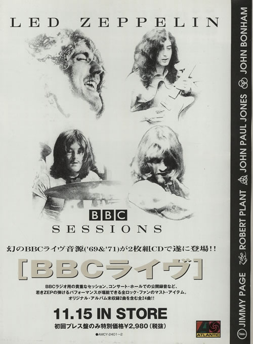 Led Zeppelin BBC Sessions handbill Japanese ZEPHBBB270424
