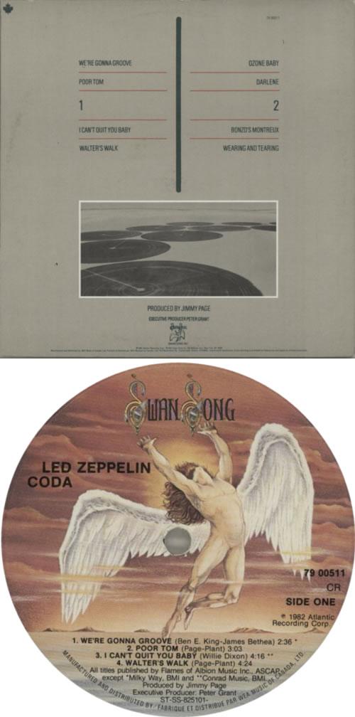 Led Zeppelin Coda vinyl LP album (LP record) Canadian ZEPLPCO623100