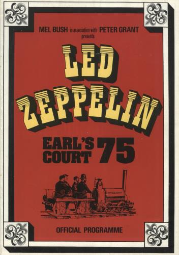 Led Zeppelin Earl's Court 75 + 25th Ticket tour programme UK ZEPTREA741848