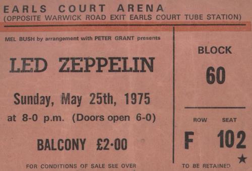 Led Zeppelin Earl's Court 75 + 25th Ticket tour programme UK ZEPTREA741848