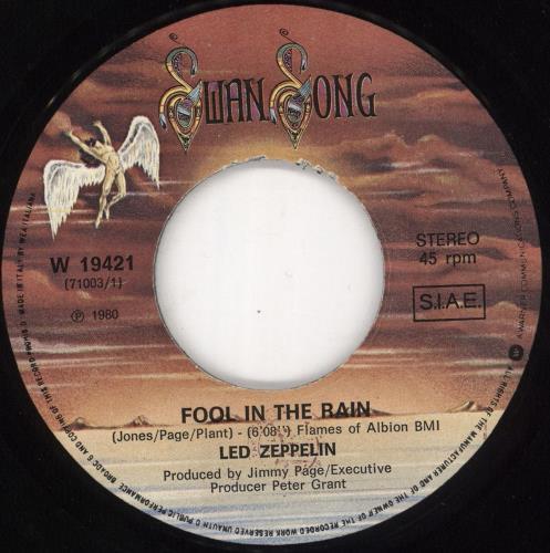 """Led Zeppelin Fool In The Rain 7"""" vinyl single (7 inch record) Italian ZEP07FO189812"""