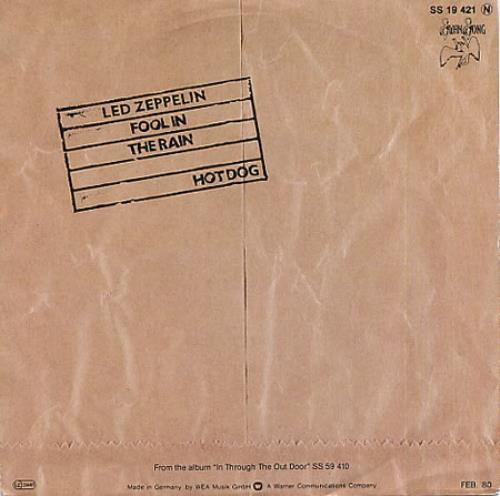 """Led Zeppelin Fool In The Rain 7"""" vinyl single (7 inch record) German ZEP07FO331388"""