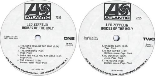 Led Zeppelin Houses Of The Holy Mono Us Promo Vinyl Lp