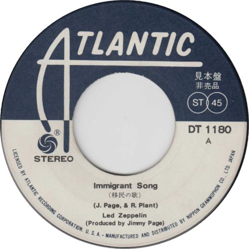 """Led Zeppelin Immigrant Song - Withdrawn 7"""" vinyl single (7 inch record) Japanese ZEP07IM737938"""