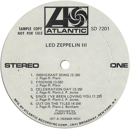 Led Zeppelin Led Zeppelin Iii White Label Tracklisting