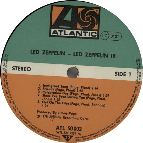 Led Zeppelin Led Zeppelin III vinyl LP album (LP record) German ZEPLPLE271619