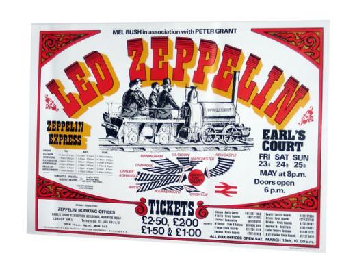 physical rocket Earl/'s court 1975 concert poster Led Zeppelin