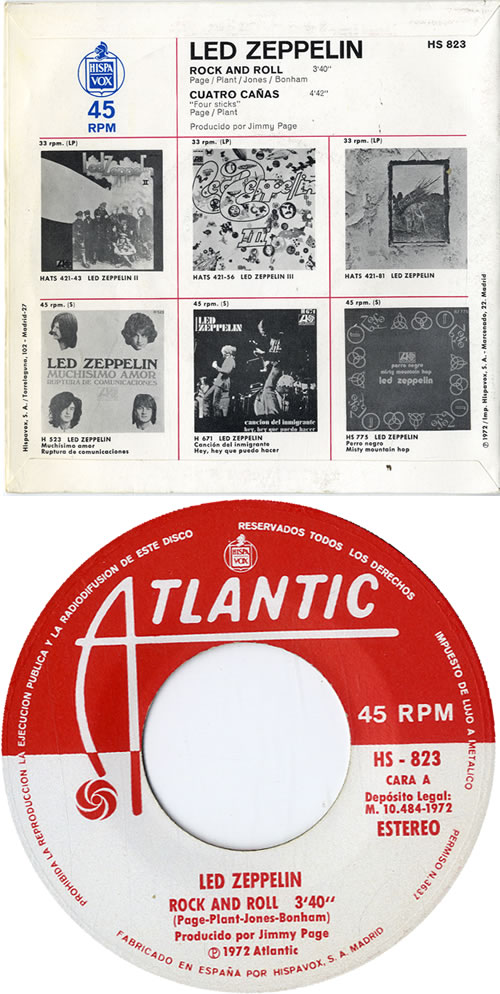 """Led Zeppelin Rock And Roll 7"""" vinyl single (7 inch record) Spanish ZEP07RO594938"""