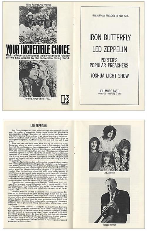 Led Zeppelin Set Of Two Fillmore East Programmes tour programme US ZEPTRSE447300