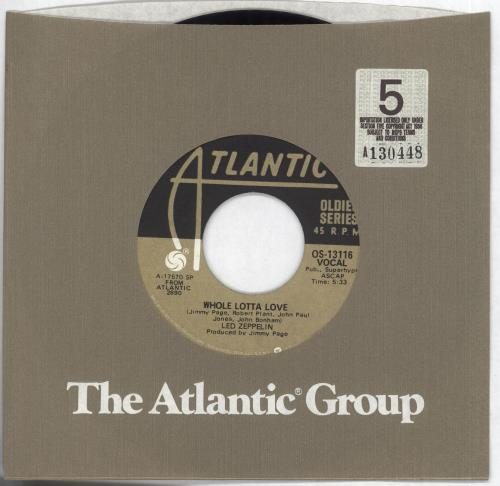 "Led Zeppelin Whole Lotta Love 7"" vinyl single (7 inch record) US ZEP07WH707854"