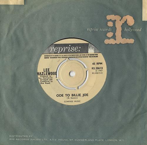 "Lee Hazlewood Ode To Billie Joe 7"" vinyl single (7 inch record) UK LHZ07OD493866"