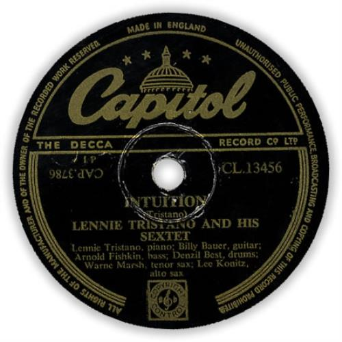 Lennie Tristano Intuition 78rpm shellac record UK LN078IN397548