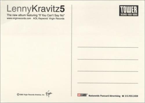 lenny kravitz 5 five promo postcard us promo memorabilia 115800