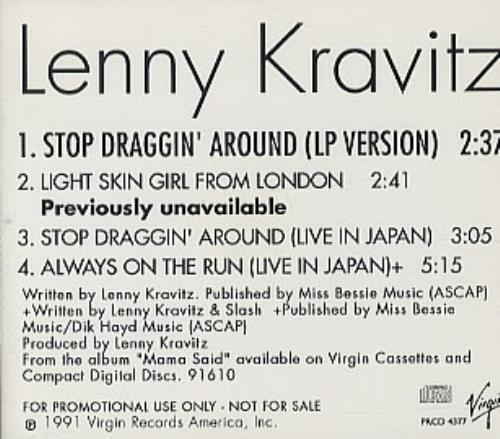 "Lenny Kravitz Stop Draggin' Around CD single (CD5 / 5"") US KVZC5ST36212"