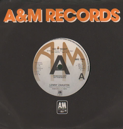 """Lenny Zakatek Do It Right - A-Label 7"""" vinyl single (7 inch record) UK ZAK07DO635943"""