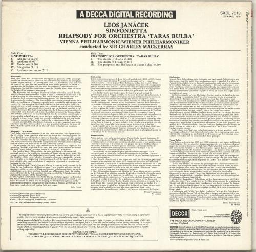 Leoš Janácek Sinfonietta / Taras Bulba vinyl LP album (LP record) UK JKALPSI713862