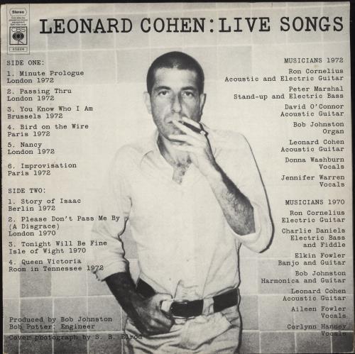 Leonard Cohen Live Songs vinyl LP album (LP record) UK COHLPLI767897