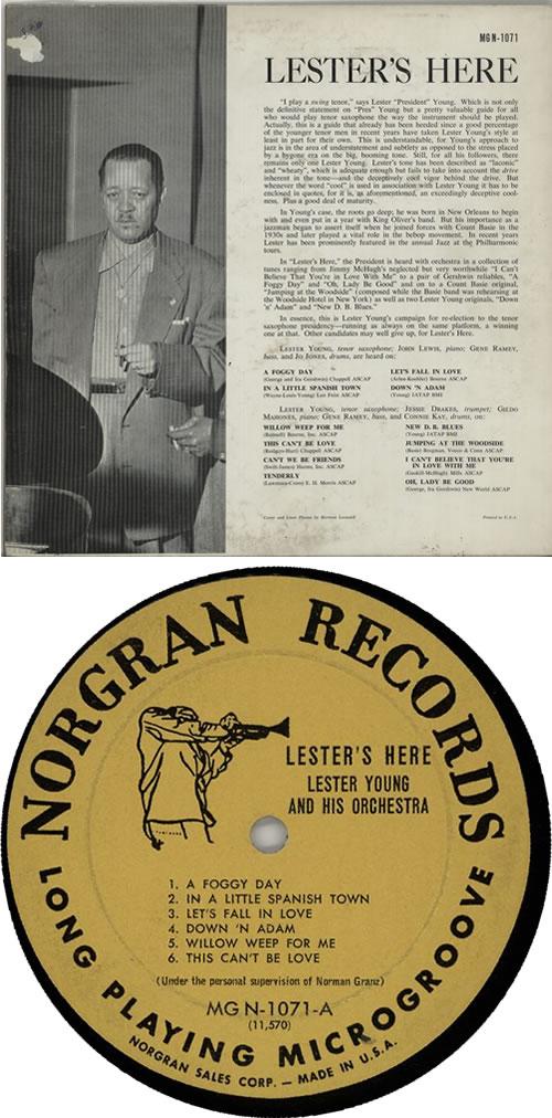 Lester Young Lester's Here vinyl LP album (LP record) US LYJLPLE633702