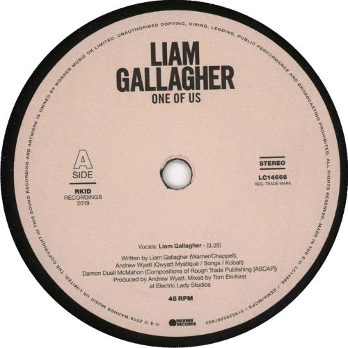 """Liam Gallagher One Of Us 7"""" vinyl single (7 inch record) UK LGL07ON728113"""