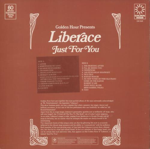 Liberace Just For You vinyl LP album (LP record) UK LI8LPJU741690