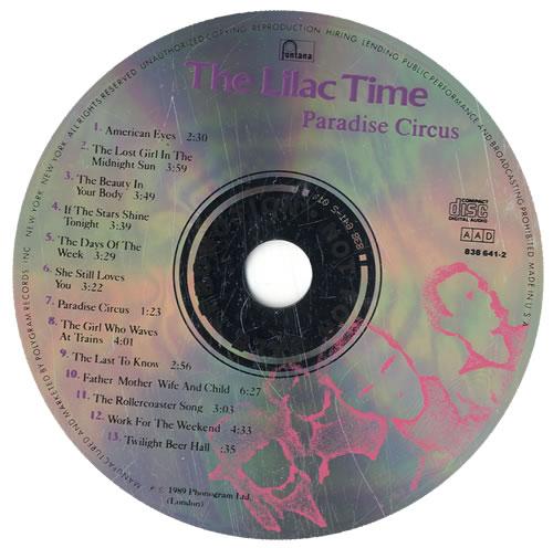 Lilac Time Paradise Circus CD album (CDLP) US LILCDPA546416