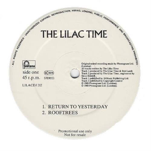 """Lilac Time Return To Yesterday 12"""" vinyl single (12 inch record / Maxi-single) UK LIL12RE91947"""