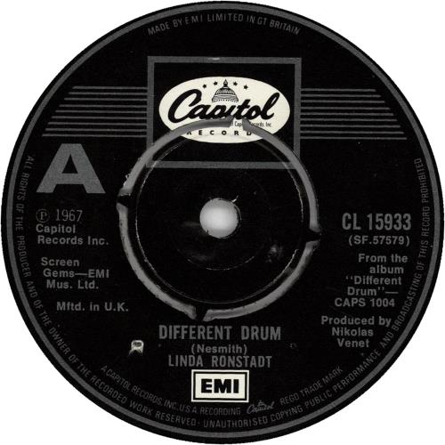 """Linda Ronstadt Different Drum 7"""" vinyl single (7 inch record) UK LIR07DI415004"""
